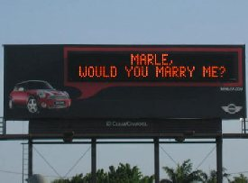 marriage proposal on a billboard