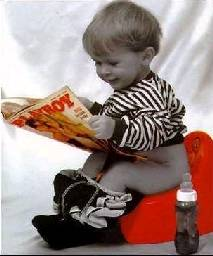 kid reading playboy on the pot