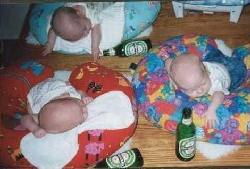 babies sleeping with beer bottles strewn