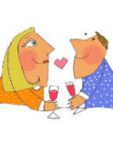 girl and guy dating with glass of wine and heart