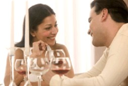couple enjoying intimate dinner together