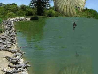 man parachuting into lake surrounded by alligators