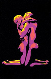 lovers embracing on black light poster flaming love