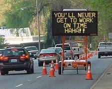 funny road sign late for work