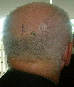 funny tattoo on head