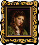 pretty woman in ornate frame that detracts from her