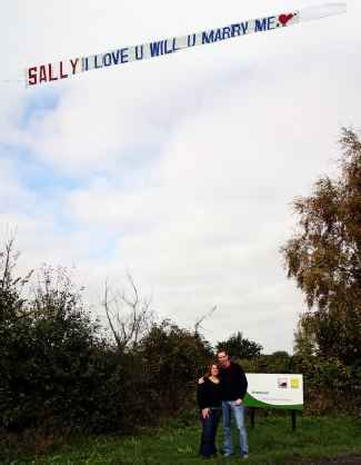 sky banner marriage proposal