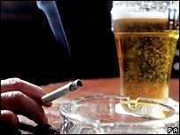 cigarette and glass of beer